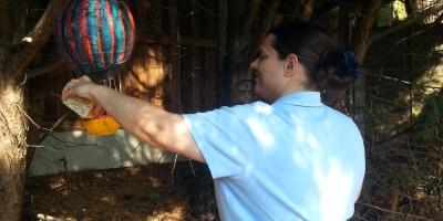 Bettina and her handmade bird feeder