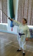 Bettina has achieved her Blue Belt for sword work